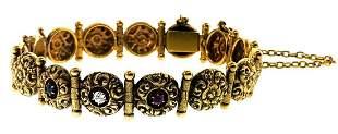 Victorian 14k Yellow Gold Bracelet with Diamond,
