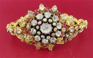 Victorian ROSE CUT DIAMOND RUBY YELLOW GOLD BANGLE