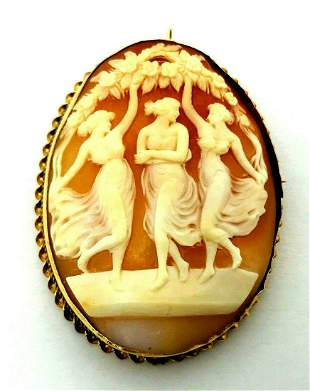 Victorian 14k Yellow Gold Cameo Pendant Pin