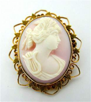 Antique Carved Angel Skin Coral Cameo 10k Yellow Gold