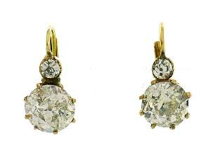Victorian Diamond Yellow Gold Drop EARRINGS Antique