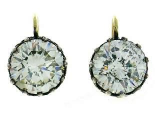Victorian Diamond Silver Gold Drop Stud EARRINGS
