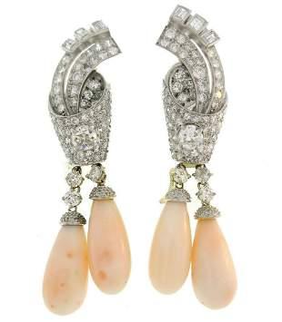 Art Deco Coral Diamond Platinum Dangle EARRINGS