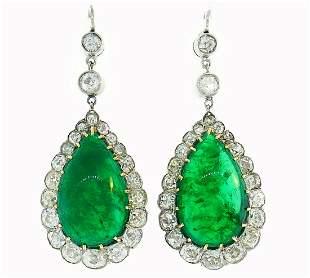 Victorian Emerald Diamond Gold Dangle EARRINGS Antique