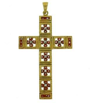 Victorian Yellow Gold Cross PENDANT Diamond Enamel