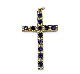 Victorian 14k Yellow Gold Amethyst Pearl Cross Pendant