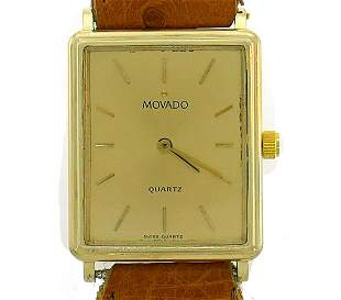Vintage MOVADO Yellow Gold WATCH Leather Strap Unisex