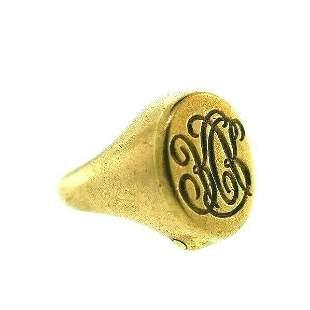 VICTORIAN 9k Yellow Gold Signet Ring w/Hidden Key