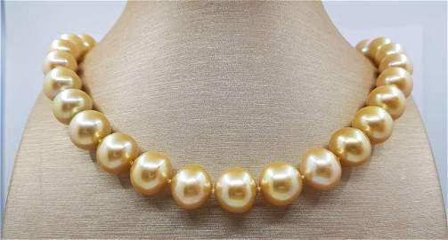 Large 13x15mm Golden South Sea Pearls - Necklace