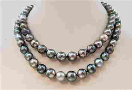 8x12mm Shimmering Multi Tahitian pearls - Necklace