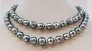 8x11mm Silvery Green Tahitian Pearls - 14 kt. White
