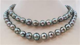 x11mm Silvery Green Tahitian Pearls - 14 kt. White