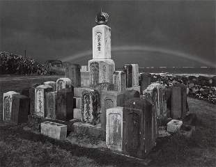 ANSEL ADAMS - Buddhist Grave Markers, Rainbow, 1956
