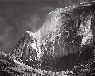 ANSEL ADAMS - Half Dome Blowing Snow, Yosemite, 1955