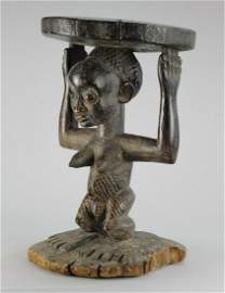LUBA Kanyok cariatid stool seat figure statue Congo