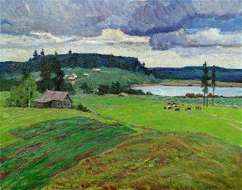Oil painting Village in the mountains Klyuchnik Vasily