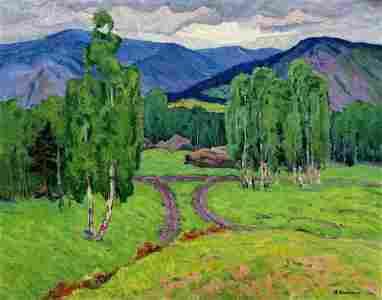 Oil painting Forest in the mountains Klyuchnik Vasily