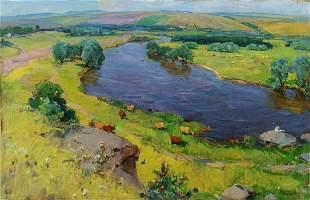 Oil painting Walk in the field Grebennik Vitaly