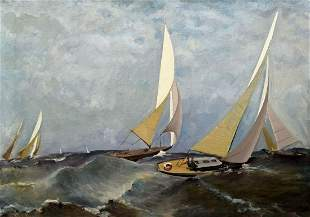 Oil painting Sailboats at sea Unknown artist