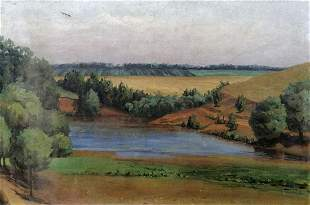 Oil painting Forest Lake Unknown artist