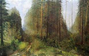 Oil painting In a dense forest Unknown artist