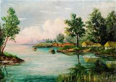 Oil painting Houses by the river Unknown artist
