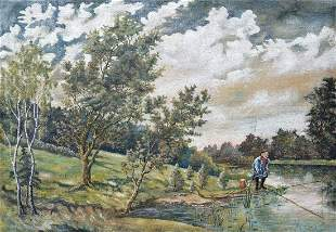 Oil painting Fishing Unknown artist
