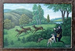 Oil painting Deer hunting I. Drobot