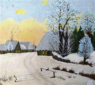 Oil painting Winter evening in the village Unknown