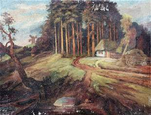 Oil painting House near the forest Unknown artist