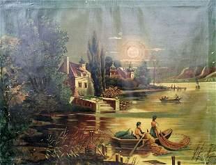 Oil painting Italian landscape Unknown artist