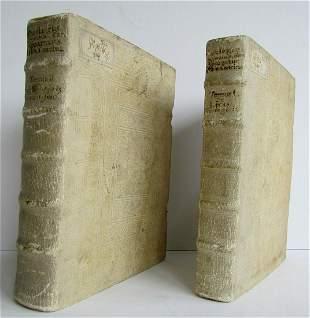 1751 2 VOLUMES PIGSKIN BINDINGS THEOLOGY by Daniele