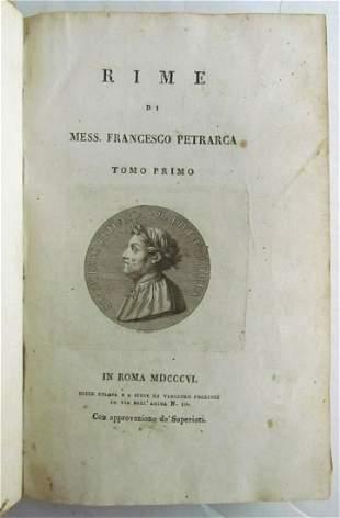 1806 RIME DI MESS. FRANCESCO PETRARCA antique POETRY