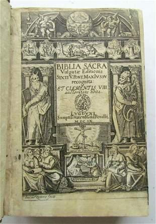 1609 BIBLE in LATIN OLD TESTAMENT BIBLIA SACRA antique