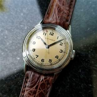 Mens Midsize 1950s Movado Military Trench Watch 30mm