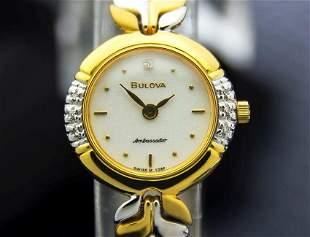 Ladies Bulova Ambassador 20mm Gold Plated Diamond Dress