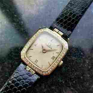 Ladies Omega 18k Solid Gold Diamond Quartz Dress Watch