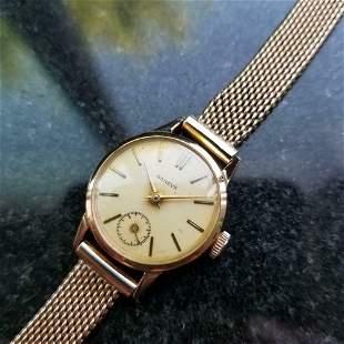 Ladies Swiss Geneve 18k Rose Gold 20mm Watch 1960s Rare