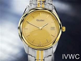 Mens Midsize/Unisex Rollei 32mm Gold Plated Quartz