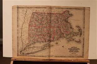 1864 Map of Massachussetts, Connecticut and Rhode
