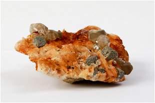 Cerusite Cristals + Galene On Colored Barytine