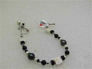Sterling Silver Tahitian Pearl Bracelet With Freshwater