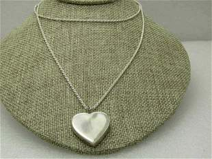 """Vintage Sterling Silver Chunky Heart Necklace, 30"""" Rope"""