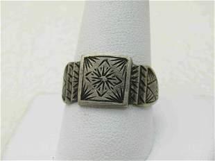 Vintage Sterling Silver Engraved Unisex Ring, Sz. 11, ,