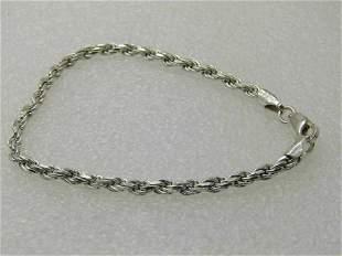 """Vintage Sterling Silver 7"""" Rope Bracelet, Signed K,"""