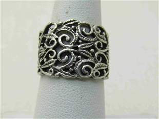 Vintage Sterling Silver Wide Scrolled Band Ring, Sz. 7,