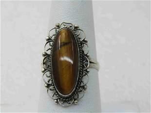 Vintage Sterling Mexico Tiger's Eye Ring, Sz. 8, Plato,