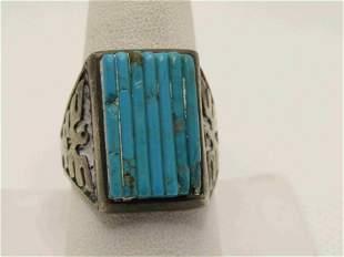 Vintage Southwestern Sterling Turquoise Thunderbird