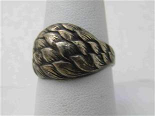 Vintage Sterling Silver Domed Leaf Ring, Sz. 10, Clark