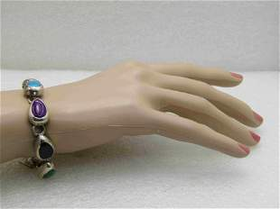 """Vintage Sterling Silver Inlaid Bracelet, Mexico, 7.25"""""""